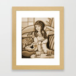 Woman and Cat Framed Art Print