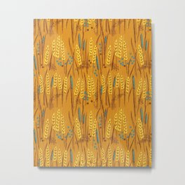 Pattern of Wheat Field Gold and Grey Metal Print