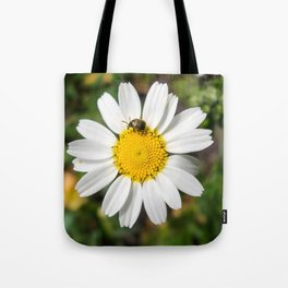 Magic Field Summer Grass - Chamomile Flower with Bug - Macro Tote Bag