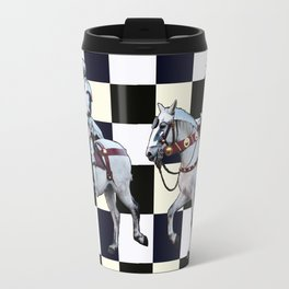 Knight on white horse with Chess board Travel Mug