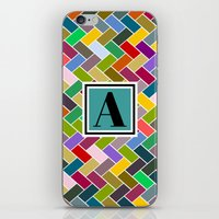 monogram iPhone & iPod Skins featuring  A Monogram by mailboxdisco