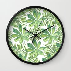 Tropical Branches Pattern 01 Wall Clock