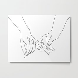 Pinky Promise One Line Art Metal Print