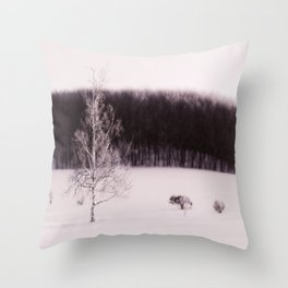 The forest behind the tree Throw Pillow