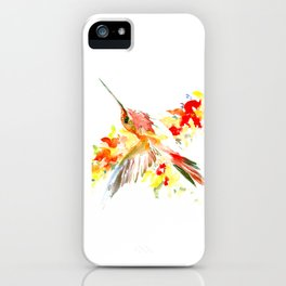 Hummingbird and Flame Colored Flowers, yellow red floral art design iPhone Case