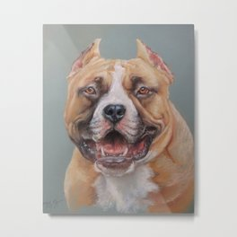 Happy Dog SMILING AMSTAFF FACE Cute pet portrait Pastel drawing Decor for Dog lover Metal Print