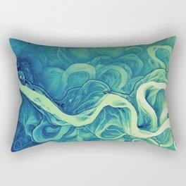 Mississippi River Lidar Greens Rectangular Pillow