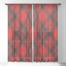 Red Tartan with Diagonal Dark Red and Black Stripes Sheer Curtain