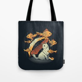 A Day In A Cat's Life Golden Fish In The Rain Tote Bag