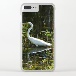 White Egret Clear iPhone Case
