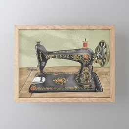 Vintage Singer Sewing Machine Framed Mini Art Print
