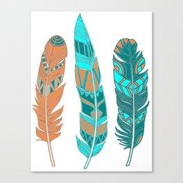 Three Boho Feathers Canvas Print