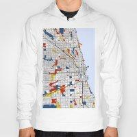 mondrian Hoodies featuring Chicago Mondrian by Mondrian Maps