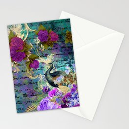 Elegant and Luxurious Colorful Peacock Art Print Stationery Cards