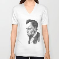 lincoln V-neck T-shirts featuring Lincoln 50 by David Sparvero