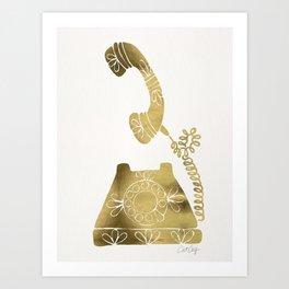 Vintage Rotary Phone – Gold Palette Art Print