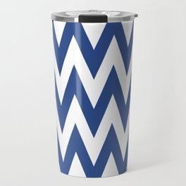 Team Spirit Chevron Blue and White Travel Mug
