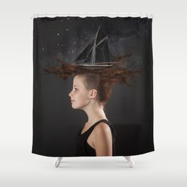 Sailing - Black Shower Curtain