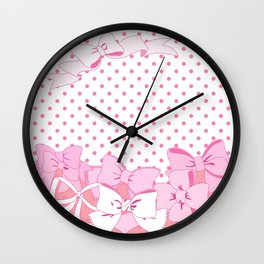 Polka dots and Ribbons Wall Clock