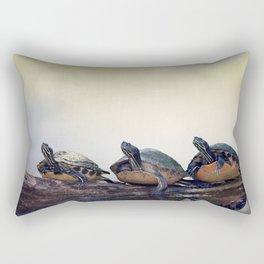 Three Florida  Turtles Sunning On A Log Rectangular Pillow