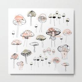 Mushroom harvest - pink and green Metal Print