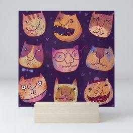 Cat faces Mini Art Print