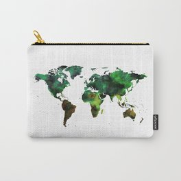 World Map Green Earth Painting Carry-All Pouch