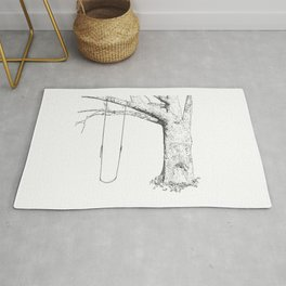 tree and swing, drawing black and white Rug