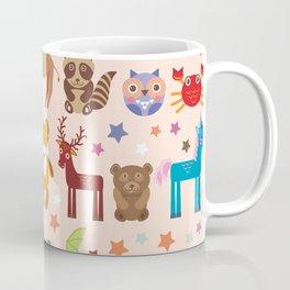 Set of funny cartoon animals character on pink seamless background. zoo. Vector Coffee Mug