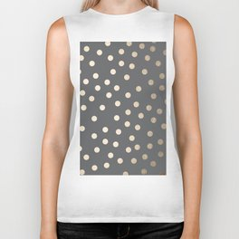 Simply Dots White Gold Sands on Storm Gray Biker Tank