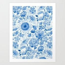 Denim Blue Monochrome Retro Floral Art Print