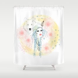 Girl and wolf Shower Curtain