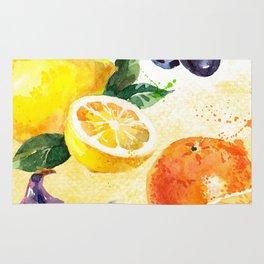 Fruits in Watercolor Rug
