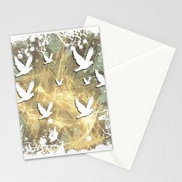 Birds on beige messy kaleidoscope Stationery Cards