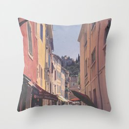 A Street In Cassis Throw Pillow