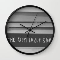 the fault in our stars Wall Clocks featuring The fault in our stars by Courtney Burns