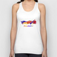 manchester Tank Tops featuring Manchester skyline in watercolor by Paulrommer