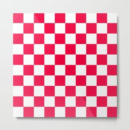 Cheerful Red Checkerboard Pattern Metal Print
