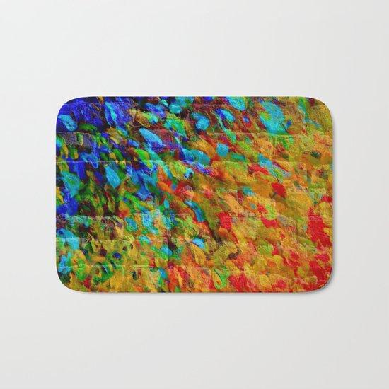 COLLISION COURSE - Bold Rainbow Splash Bricks Urban Jungle Ocean Waves Nature City Acrylic Painting Bath Mat