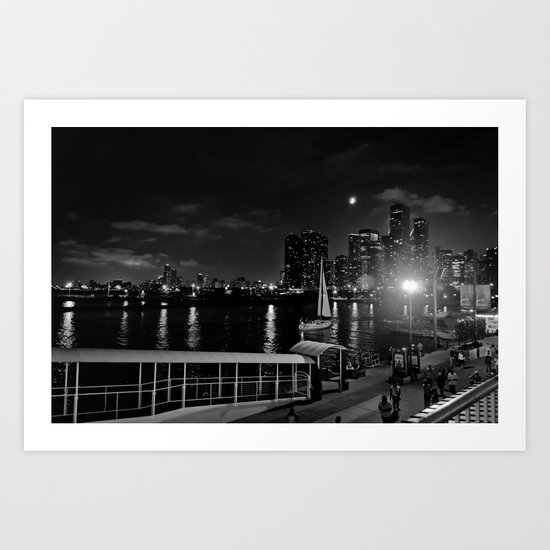 Moonlit Night at Chicago's Navy Pier Art Print