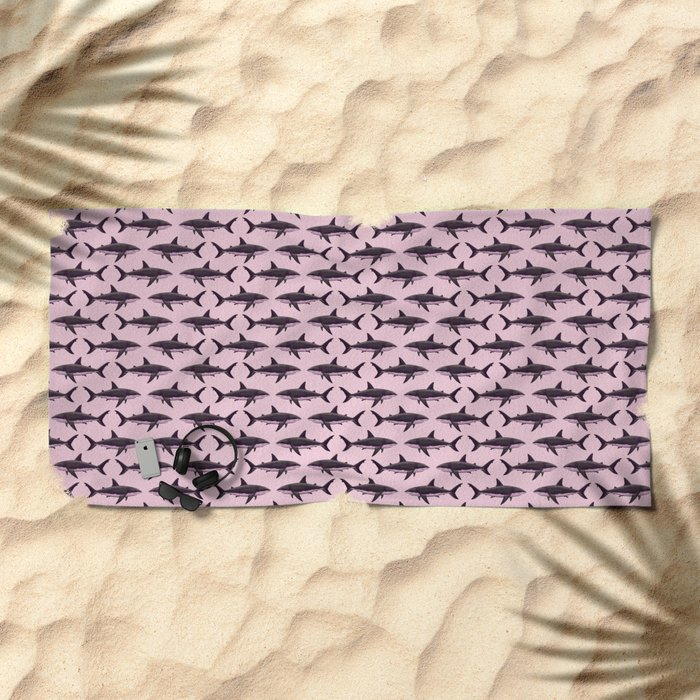 Pattern: Rose-Colored Sharkies ~ (Copyright 2015) Beach Towel
