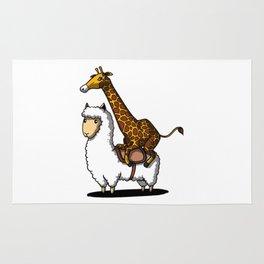 Funny Giraffe Riding A Lllama Cute Alpaca Rug