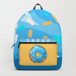 Blue Donut on Yellow Background Backpack