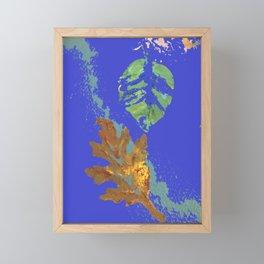 Oak Leaf on Royal Blue Painting Framed Mini Art Print
