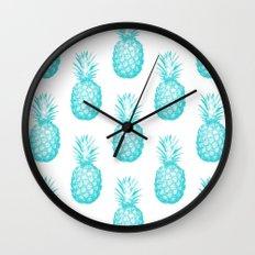 Teal Pineapple Wall Clock