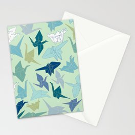 Paper Cranes- Green Stationery Cards