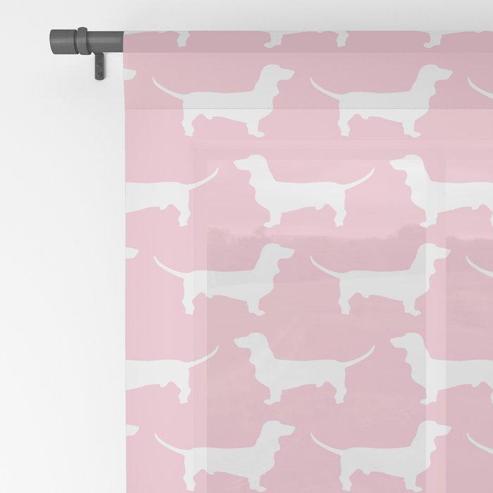 Pink Dachshund Silhouette Pattern Sheer Curtain