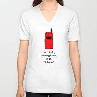 "samsung V-neck T-shirts featuring An ""iPhone"" by Samsung by Mokokoma Mokhonoana"