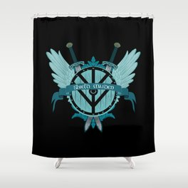 Shield Maiden Winged Teal Viking Shield Shower Curtain