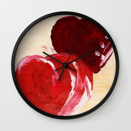 LOVE twin hearts Painted red hearts pattern. Wall Clock